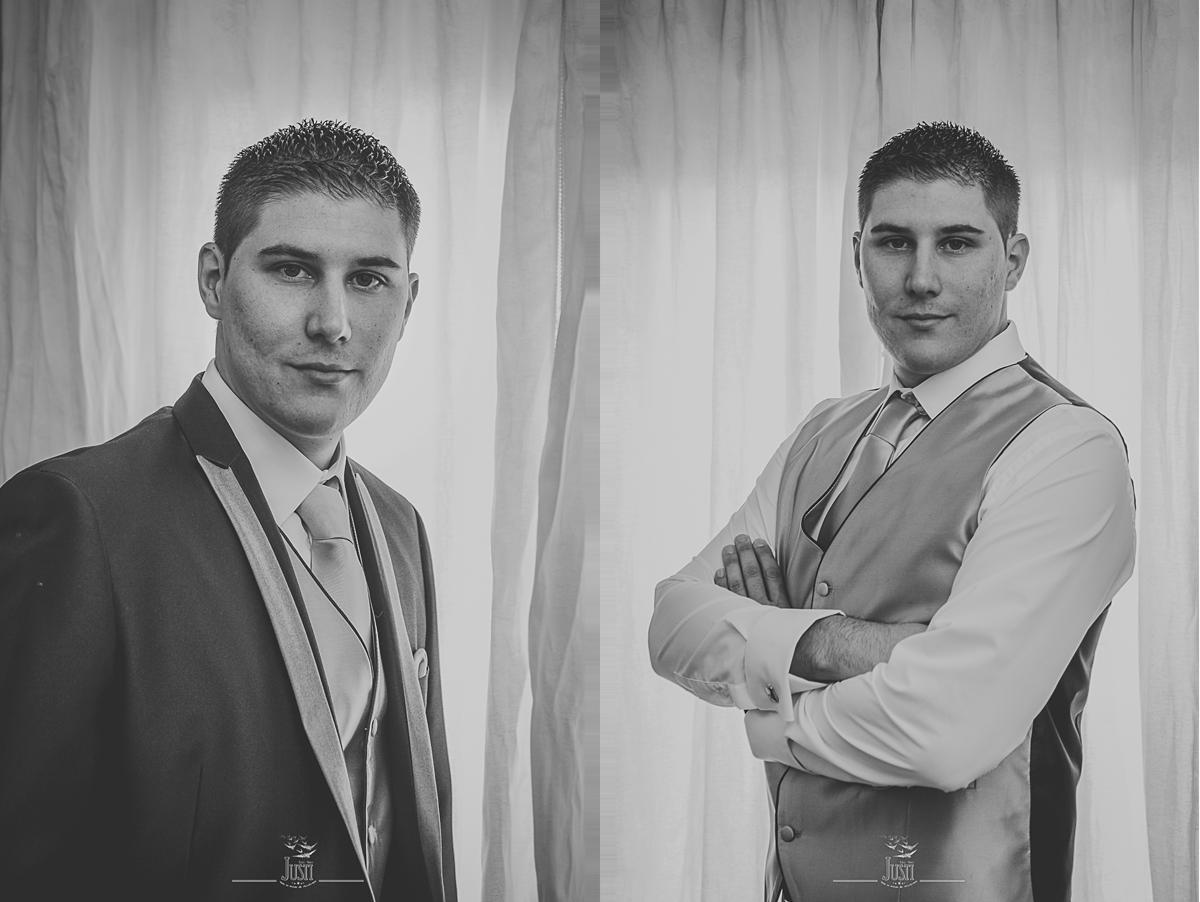 Boda en Talarrubias fotografias novio con chaqueta y sin chaqueta