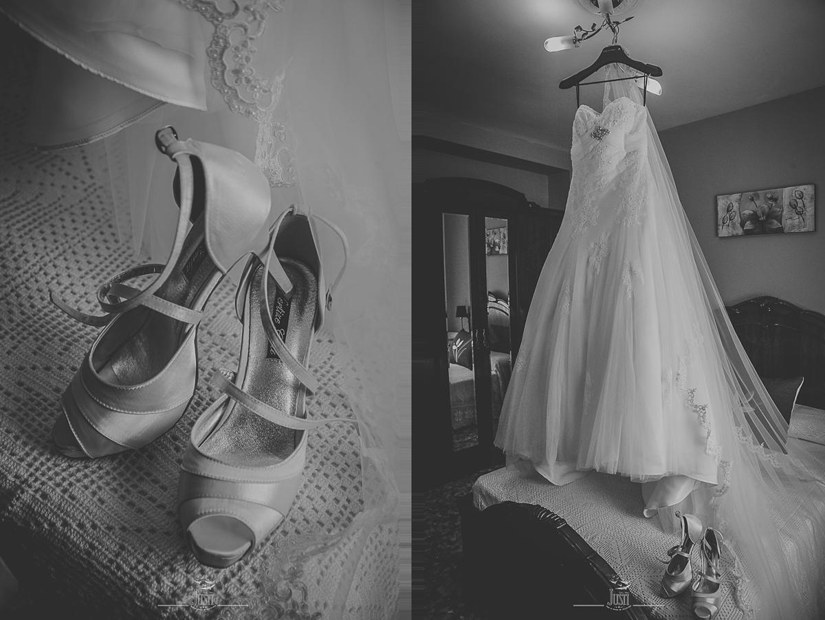 Boda en Talarrubias fotografias zapatos y traje novia